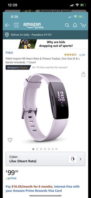 Like New Fitbit Inspire HR Tracker HEART RATE for Sale in Monterey Park, CA