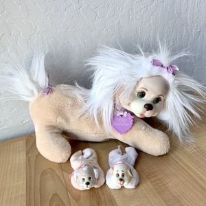 Vintage 1991 Hasbro Puppy Surprise Tan/Beige & White Mommy Dog Plush & 2 Puppies Stuffed Animal Toys #8800 for Sale in Elizabethtown, PA