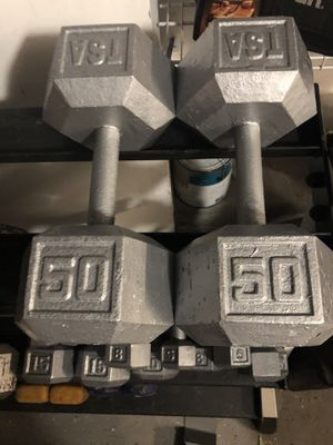 Pair of 50lbs dumbbells for Sale in Tampa, FL