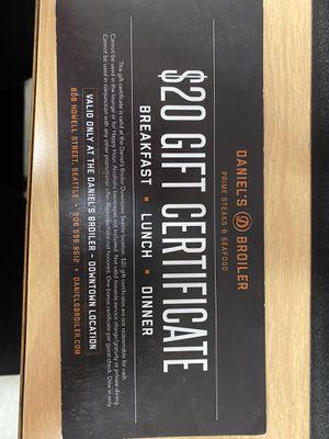 Daniel Broiler Gift Certificates for Sale in Lynnwood, WA