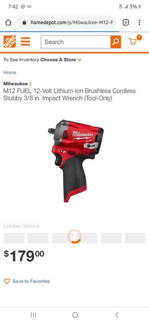 """Milwaukee m12 FUEL 3/8"""" stubby impact wrench for Sale in Philadelphia, PA"""