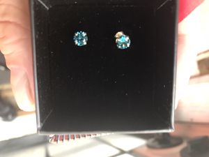 1ct 14kt blue diamond earrings no cz real gold for Sale in Denver, CO