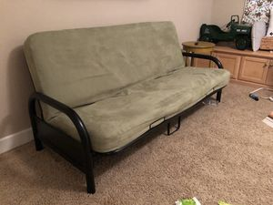 Futon - black frame and mattress with cover for Sale in Ripon, CA