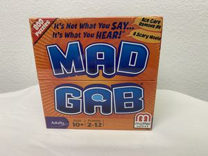 Brand New Mattel Mad Gab Adult Party Game 2 to 12 Players 800 Puzzles 2011 for Sale in San Diego, CA