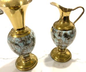 Set of 2 Delft Pottery Brass - Pitcher & Vase Marbled Aqua Hand painted Holland for Sale in Boca Raton,  FL