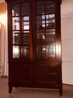 "China cabinet,Glass doors/sides, glass shelves, built-in light. Great condition. Dimensions:depth 16 ""width 43"" height 74"" for Sale in Cypress,  CA"