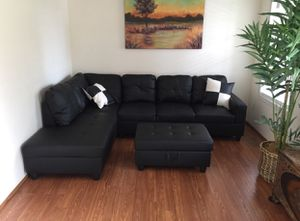 New black faux leather sectional couch with storage ottoman for Sale in Renton, WA