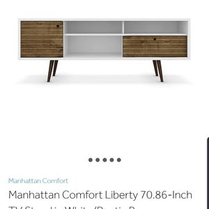 Large TV Stand (White & Brown) for Sale in Atlanta, GA
