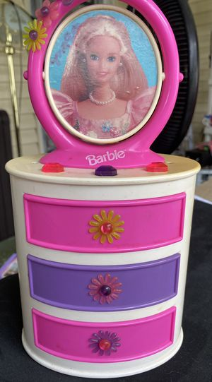 Vintage 1997 3 drawer Barbie jewelry box. This is so incredibly cute!! Shows signs of wear from use but buttons and drawers work good. Includes vinta for Sale in Bradenton, FL