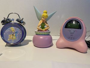 Disney Tinker Bell Alarm Clock, Tinker Bell Piggy Bank & Disney Mickey Mouse Radio Alarm digital Clock for Sale in NEW PRT RCHY, FL