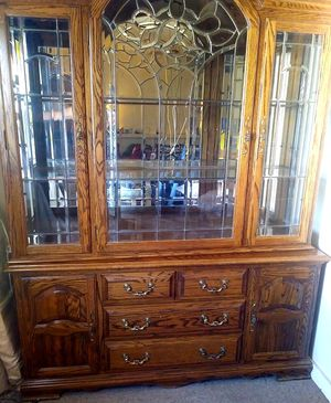 Crown glass doors hutch cabinet for Sale in San Diego, CA