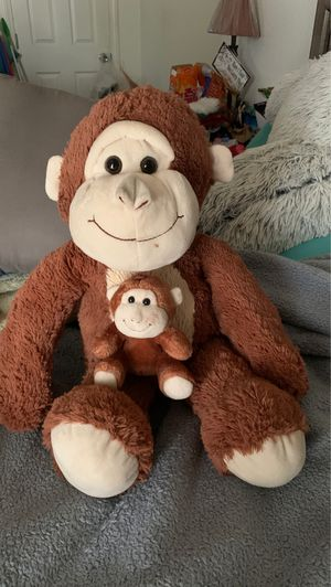 Stuffed monkey with baby for valentine presents $5 for both big bear also for valentines for Sale in Bloomington, CA