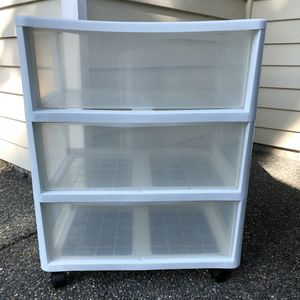 3-Drawer Caddy with Wheels Clear Plastic for Sale in Kirkland, WA
