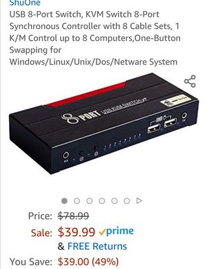 USB 8-Port Switch, KVM Switch 8-Port Synchronous Controller with 8 Cable Sets for Sale in Wausau, WI