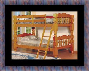 Wooden twin bunk bed frame with 2 mattress for Sale in Fairfax, VA