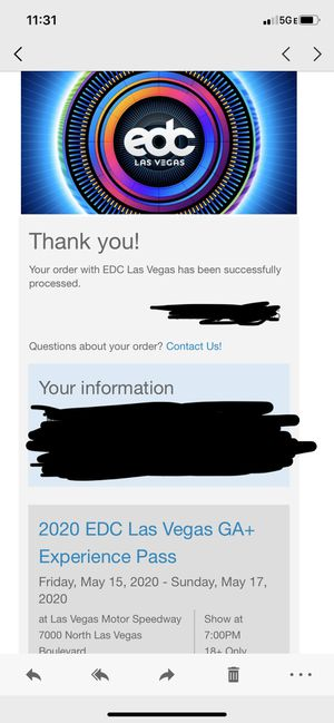 2 tickets to EDC Las Vegas 2020 General Admission Plus for Sale in Highland, CA