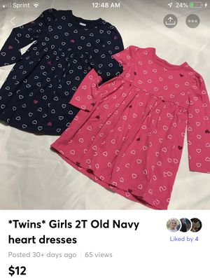 Twins* Girls 2T Old Navy heart dresses Includes both Excellent clean condition no pets no smoke I do bundle for Sale in Bethlehem, PA
