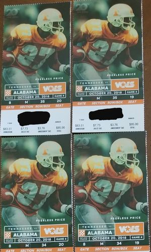 4 UT BAMA Tix for Sale in Knoxville, TN