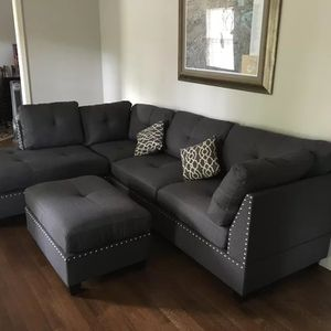 Brand New Grey Linen Sectional Sofa Couch + Ottoman for Sale in Springfield, VA