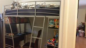 Silver Metal Loft Bed with Desk and Bookshelves for Sale in Tampa, FL