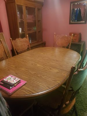Dining table with leaf and 8 chairs for Sale in Conneaut, OH