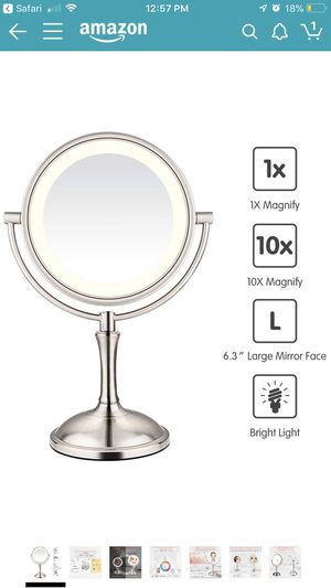 "AmnoAmno LED Makeup Mirror-10x Magnifying,7.8"" Double Sided Lighted Vanity Makeup Mirror with Stand, Touch Button Adjustable Light-Cord or Cordless ( for Sale in Oxnard, CA"