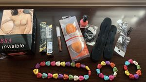 Beauty items, 2 hair finishing creams, hair items, 2 sandals 6.5, 2 invisible bras cup A (beige and black) 2 beauty blender sponges, 1 elf lip gloss, for Sale in Las Vegas, NV