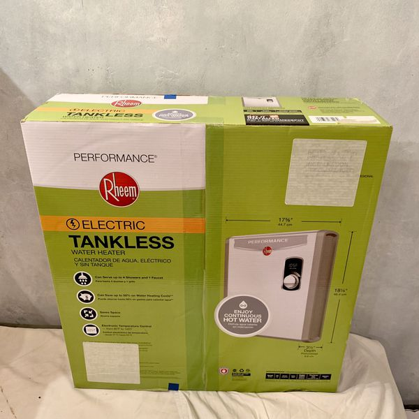 New Sealed Rheem Performance 240V 3 Heating Chambers Electric Tankless Water Heater. Model Number RETEX-27