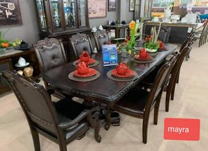 {{{Kiera brown formal dining set __ table and 6 side chairs.. 2 arm chairs... }} brand new. Delivery available.. for Sale in Katy, TX