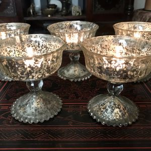 Lot of 8 Silver Mercury Glass Votive Candle Holders / Flower Vases / Pedestal Bowls for Sale in Los Angeles, CA