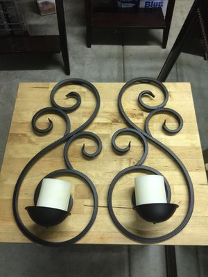 Pair of beautiful decorative wall mount candle holders with candles for Sale in Redlands, CA
