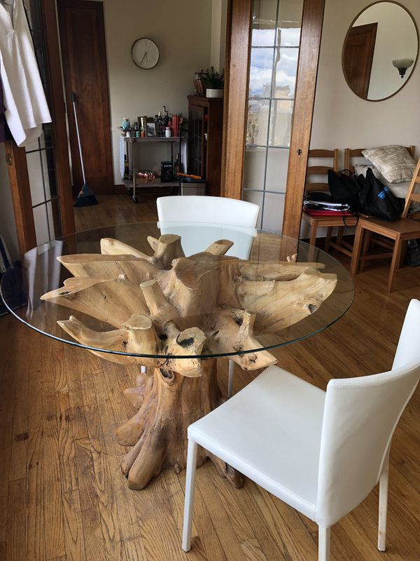 Beautiful Tree Root Dining Table with Tempered Glass
