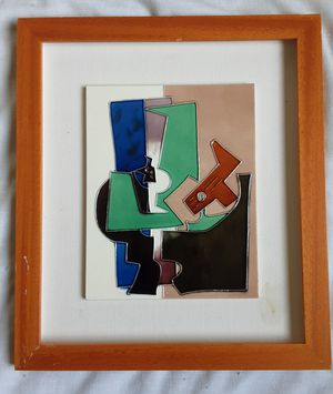 A vintage Mid-Century Modern Abstract Expressionist Japanese Tile Art Guitar Player for Sale in Tacoma, WA