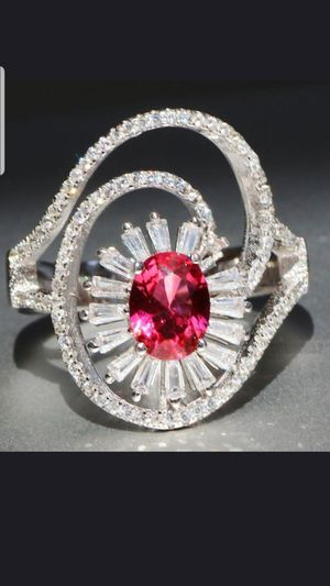 Sterling silver ruby and white sapphire ring size 8 for Sale in Dundalk, MD