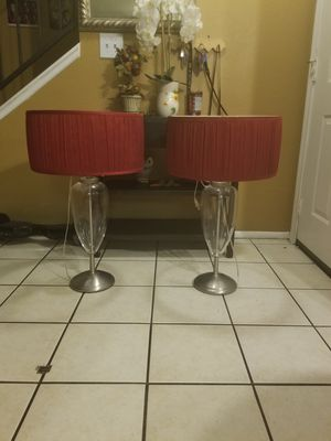 beautiful red lamps in very good condition the bottom is glass for Sale in Las Vegas, NV