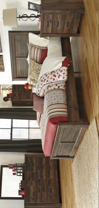 🍃good price🍃Quinden Dark Brown Panel Bedroom Set | B246