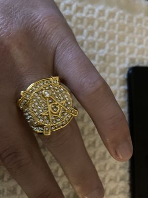 Size 7 gold plated Masonic CZ ring 70 obo for Sale in Mechanicsburg, PA