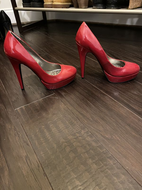 Guess red patent heels