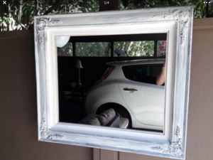 A Antique Mirror with white trim , 32 inches wide and 28 inches high for $30 for Sale in Hercules, CA