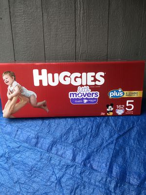 HUGGIES LITTLE MOVERS 162 DIAPERS SIZE 5 SUPER LARGE BOX for Sale in Tacoma, WA