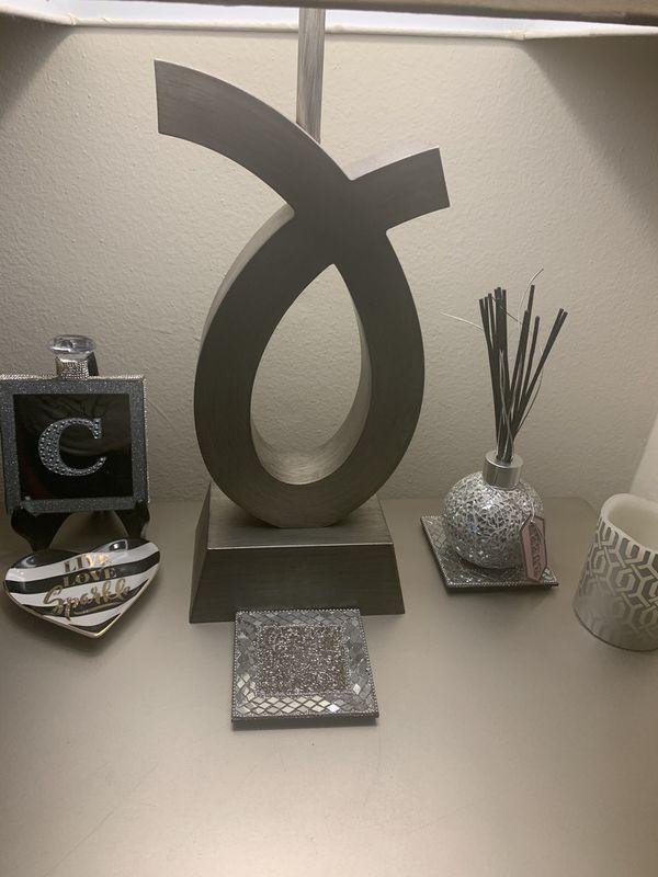 Silver Nickel Metal Table Lamps Set of 2