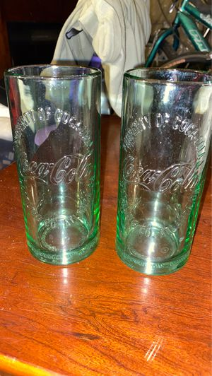 4 piece Coca Cola collectible thick green drinking glasses for Sale in Overland, MO