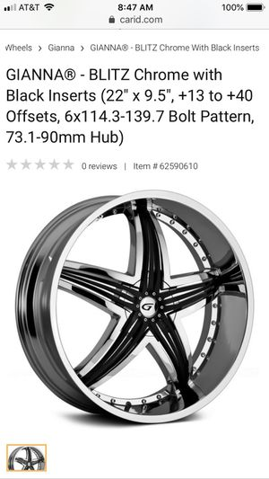 Gianna Blitz Chrome w/ Black inserts Rims and tires. 2 tires are good, the other 2 are fair. Not sure if these rims fit your vehicle. for Sale in Las Vegas, NV