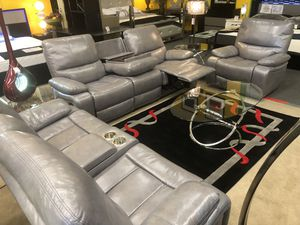 Beautiful light gray 3 pcs sofa set with 5 Recliners,Storage and drop down•take it home with $40 dollars•No credit needed for Sale in Las Vegas, NV