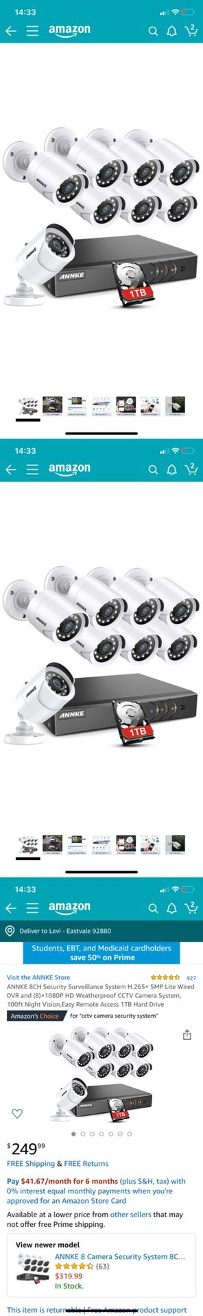 8CH Security Surveillance System H.265+ 5MP Lite Wired DVR and (8)×1080P HD Weatherproof CCTV Camera System, 100ft Night Vision,Easy Remote Access 1T for Sale in Corona, CA