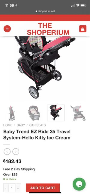 Baby Trend EZ Ride 35 Travel System-Hello Kitty Ice Cream for Sale in Brooklyn, NY