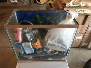Fish tank with filter, air pump, water heater, food, decorations. for Sale in Troutdale, OR