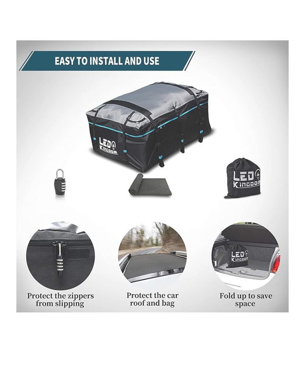 Rooftop Cargo Carrier Bag, Waterproof Cargo Carrier, 600D with PVC Coating Roof Top Bag for All Cars with/Without Rack,
