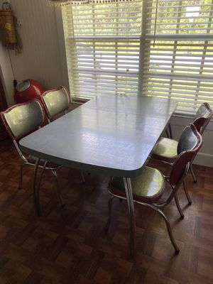 Vintage Dinette Table Chairs Chrome Formica MCM Red Gray for Sale in Melbourne, FL