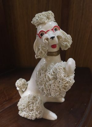 Vintage White Ceramic Poodle with Glasses for Sale in Chicago, IL